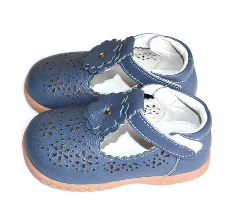 Girls shoes Forget Me Not navy leather t-bar shoes side view
