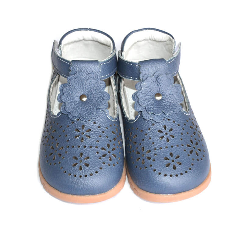 Forget Me Not navy leather toddler girl shoes front view