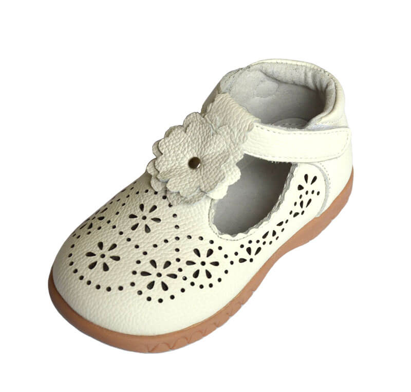 Forget Me Not toddler girl's shoes white leather with floral detail