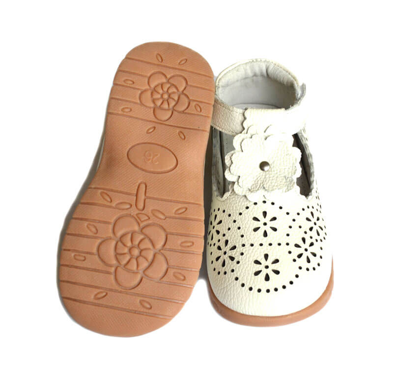 Forget Me Not girls leather shoes available in white and navy with flexible sole