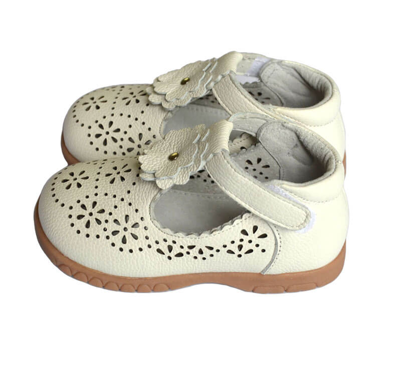 Girls shoes Forget Me Not white leather t-bar shoes side view