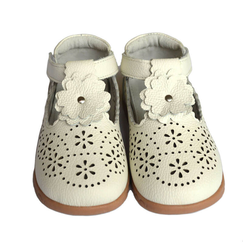 Forget Me Not white leather toddler girl shoes front view
