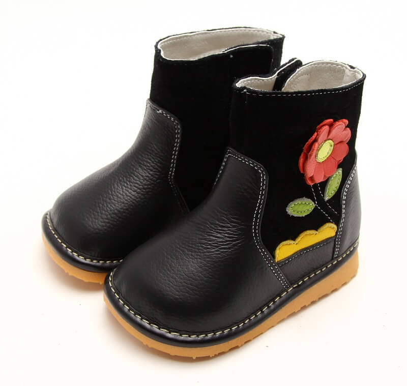 Gerberra toddler girls leather boots black with orange flower