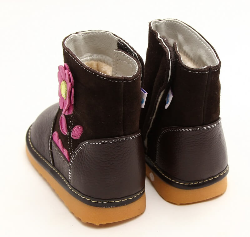 Gerberra brown leather toddler girl boots back view