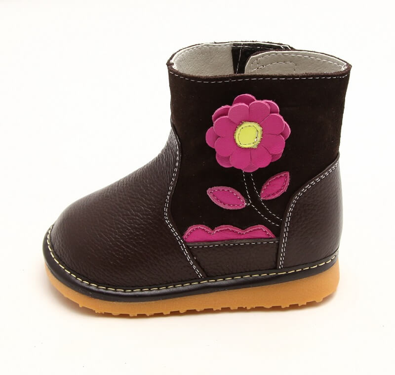 Gerberra brown leather toddler boots side view