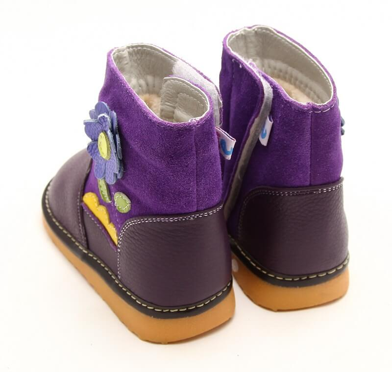 Gerberra purple leather toddler girls boots back view