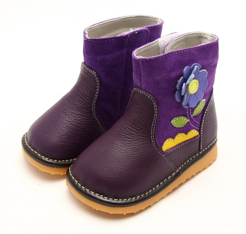 Gerberra purple leather toddler boots