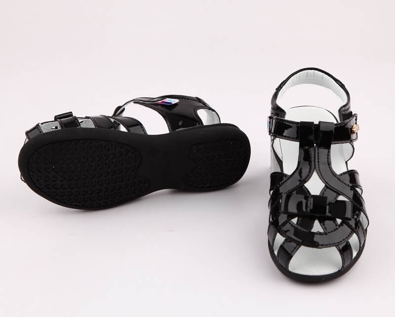 Soiree sandals for girls black leather sandals