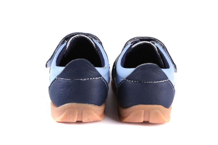 Grasshopper leather toddler sneakers blue back view