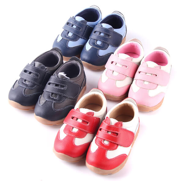 Grasshopper leather toddler shoes available in black blue pink red