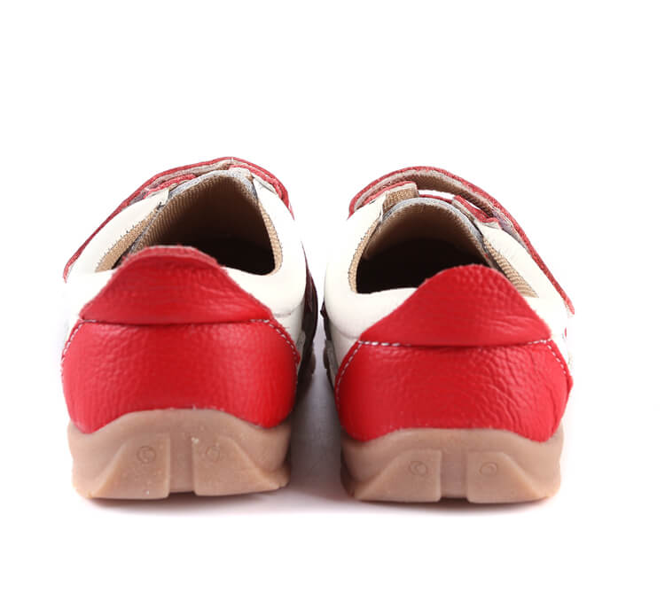 Grasshopper leather toddler sneakers red back view