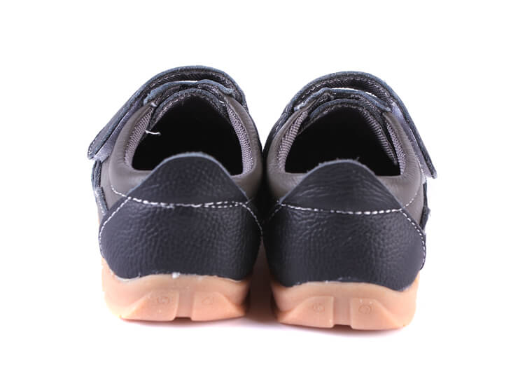 Grasshopper leather toddler shoes black back view