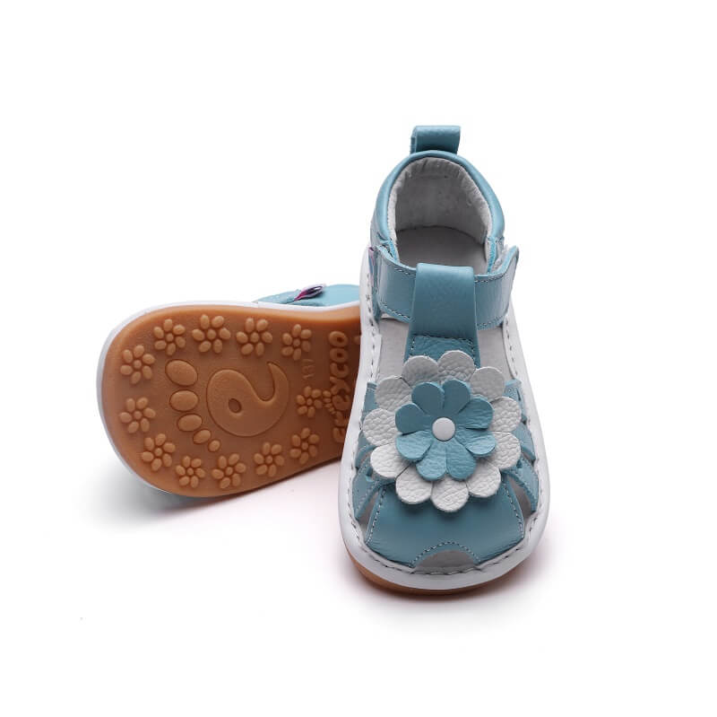 Gypsy blue leather toddler girls sandals flexible rubber sole