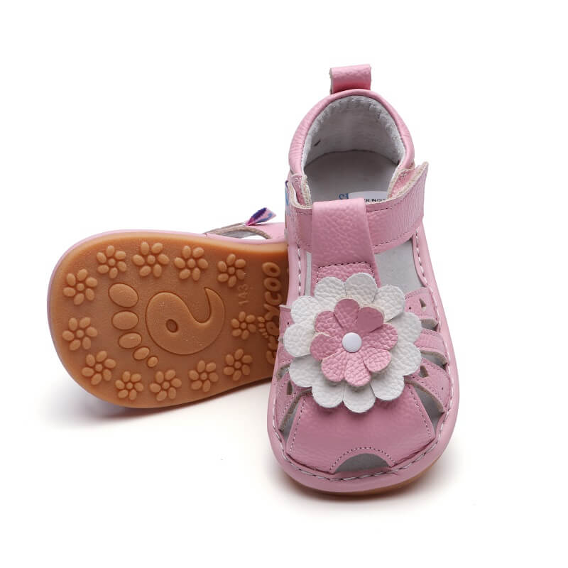Gypsy pink leather toddler girls sandals flexible rubber sole