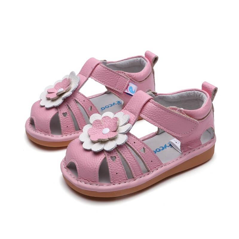 Gypsy pink leather toddler girls sandals