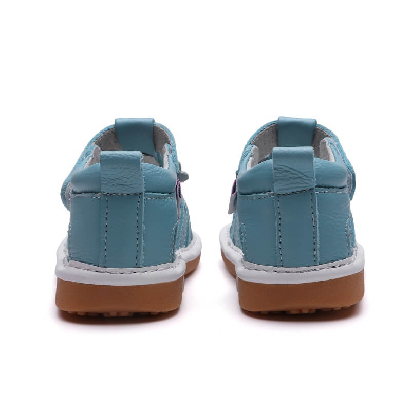 Gypsy blue leather toddler girls sandals back view