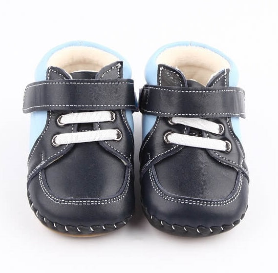 Harry navy and blue leather first walker baby boots