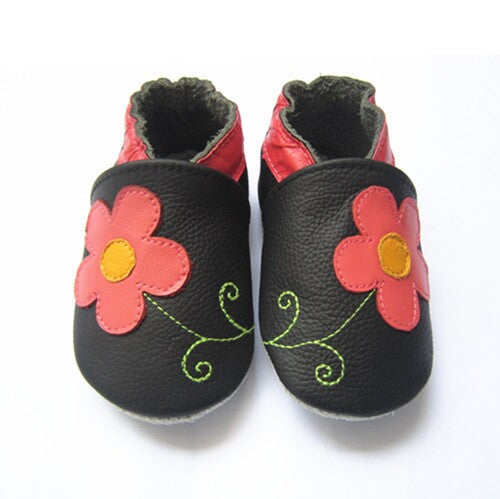 Hibiscus baby girl soft sole shoes black with pink flower