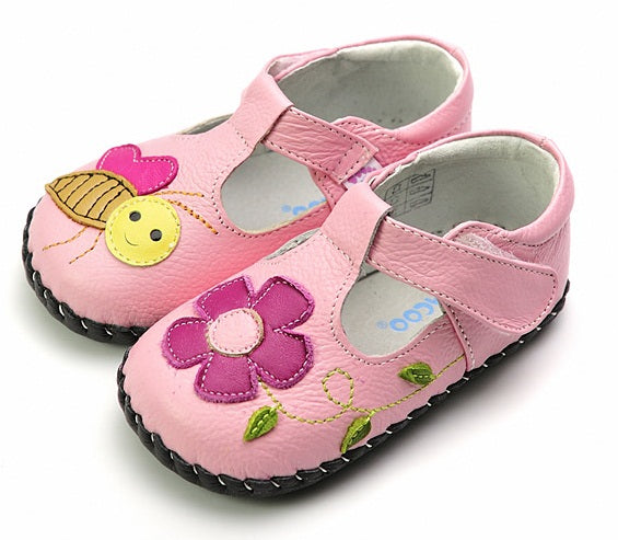 Honey pink leather baby girls first walker sandal with bee and flower detail
