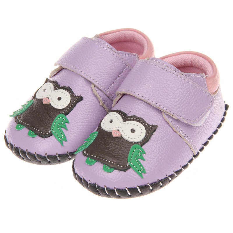 purple leather baby pre walker shoes baby girl pre-walker sneakers