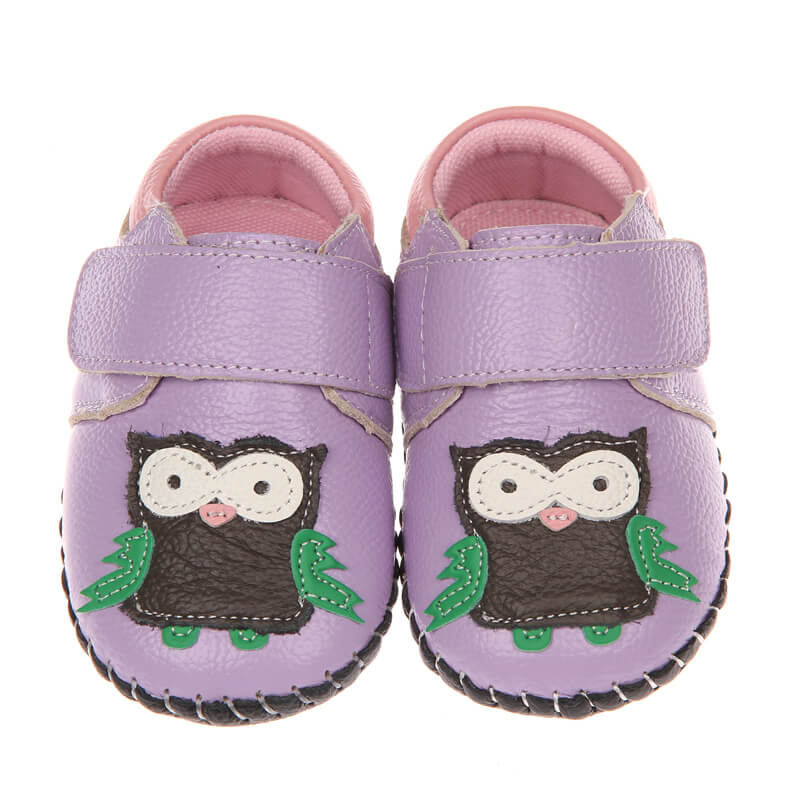 Leather first walker baby girls sneakers purple with owl