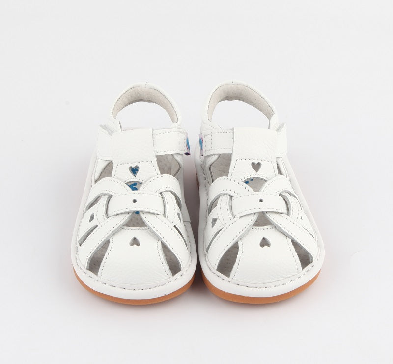 Freya white leather toddler girl sandals front view