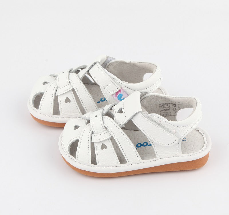 Freya white leather toddler girl sandals side view