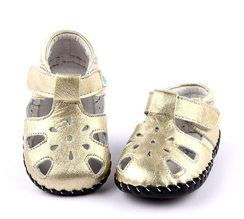 Jewel baby girl sandals gold leather first walker baby shoes