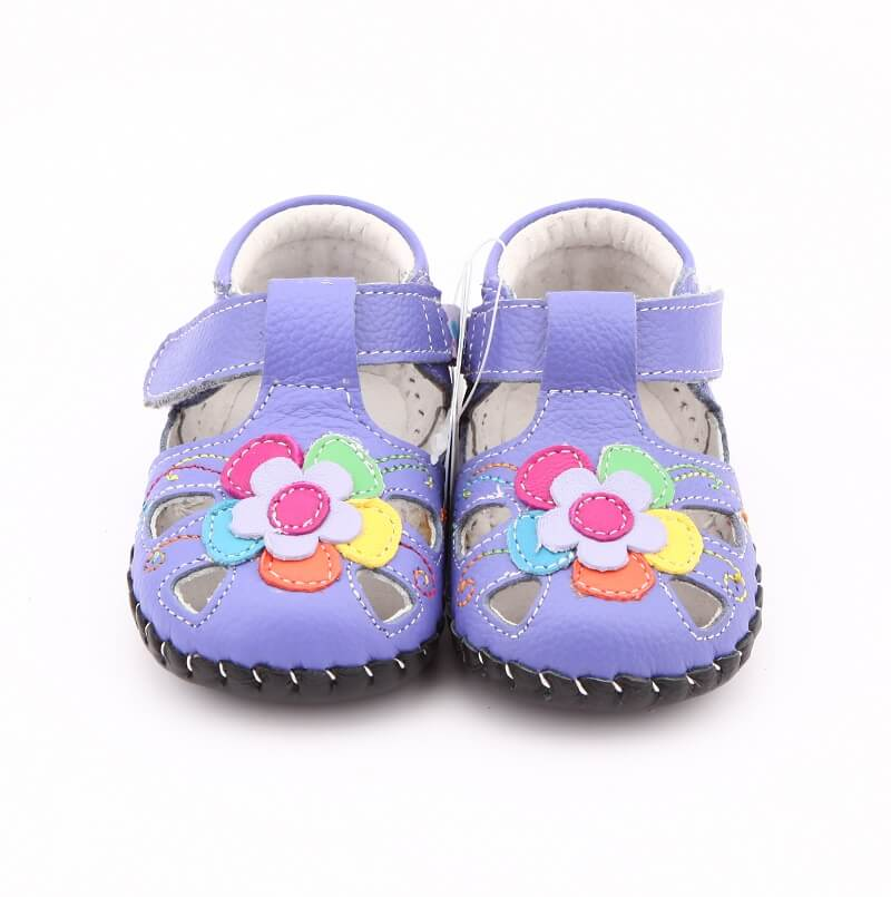Joy baby girl sandals purple leather with colourful flower