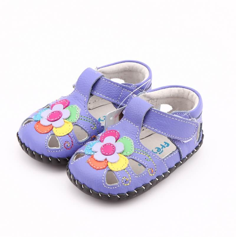 Joy first walker baby shoes purple leather baby girl sandals