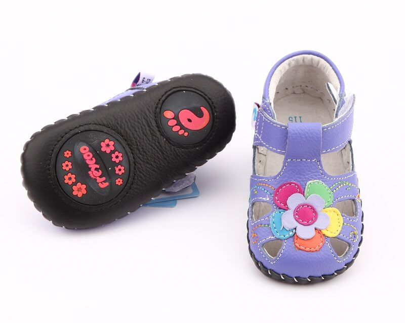 Joy first walker baby shoes purple leather with rubber inserts