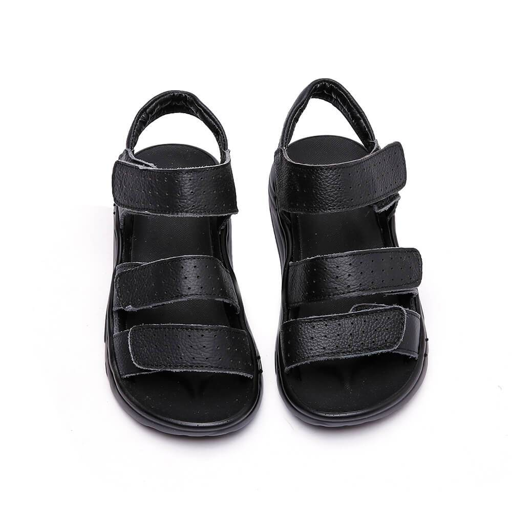 Jungle kids school sandals black leather school shoes