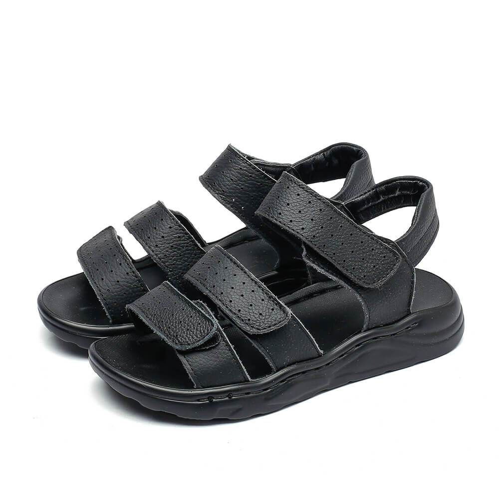 Jungle black leather school sandals for boys and girls