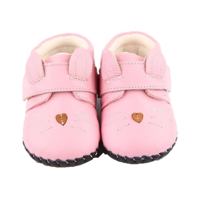 Kitty pink leather baby girls boots with ears and whiskers