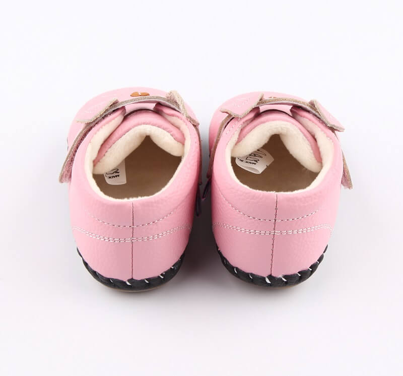 Pink leather baby girl boots Kitty first walker boots back view