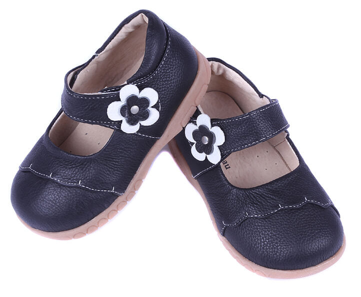 Lacey black toddler mary jane shoes with white flower