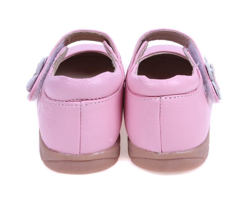 Toddler girls mary jane shoes Lacey pink leather back view