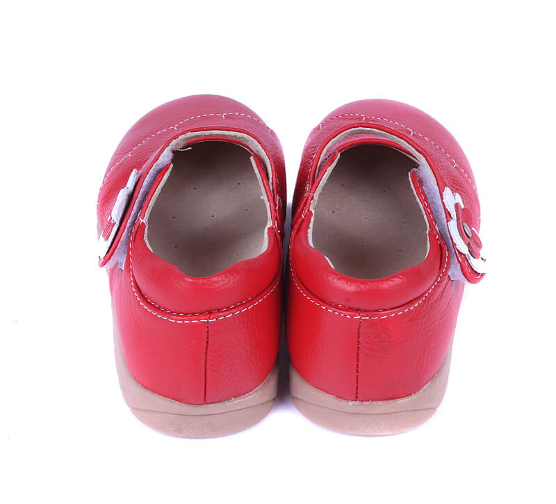 Girls mary jane shoes Lacey red leather back view