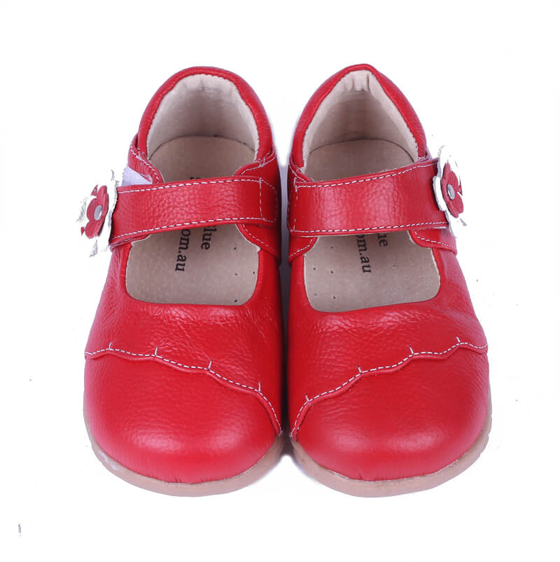 Lacey girl's mary jane shoes red leather front view