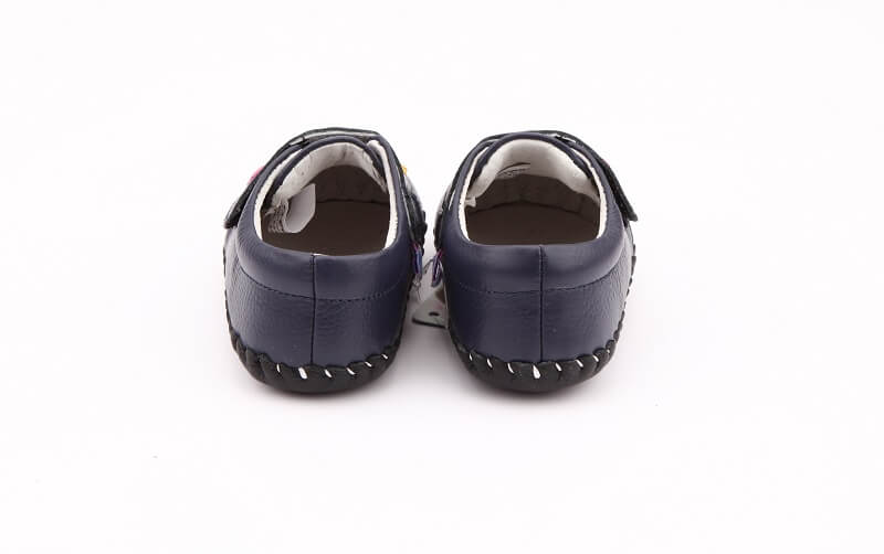 Baby girl sneakers Dahlia navy blue back view