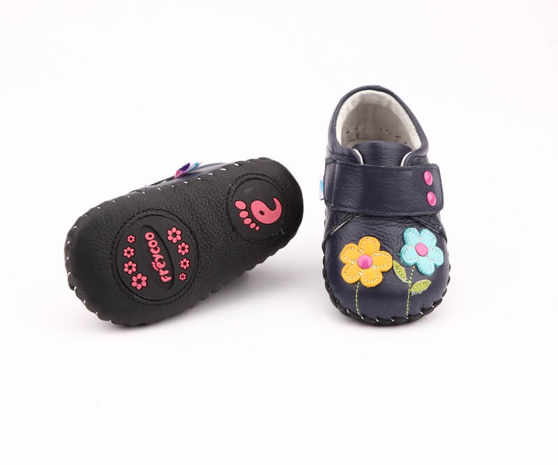Dahlia leather baby girls shoes with leather soles and velcro closure