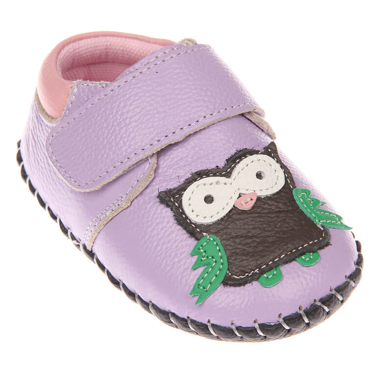 Cute baby girls shoes purple with owl first walker baby shoes