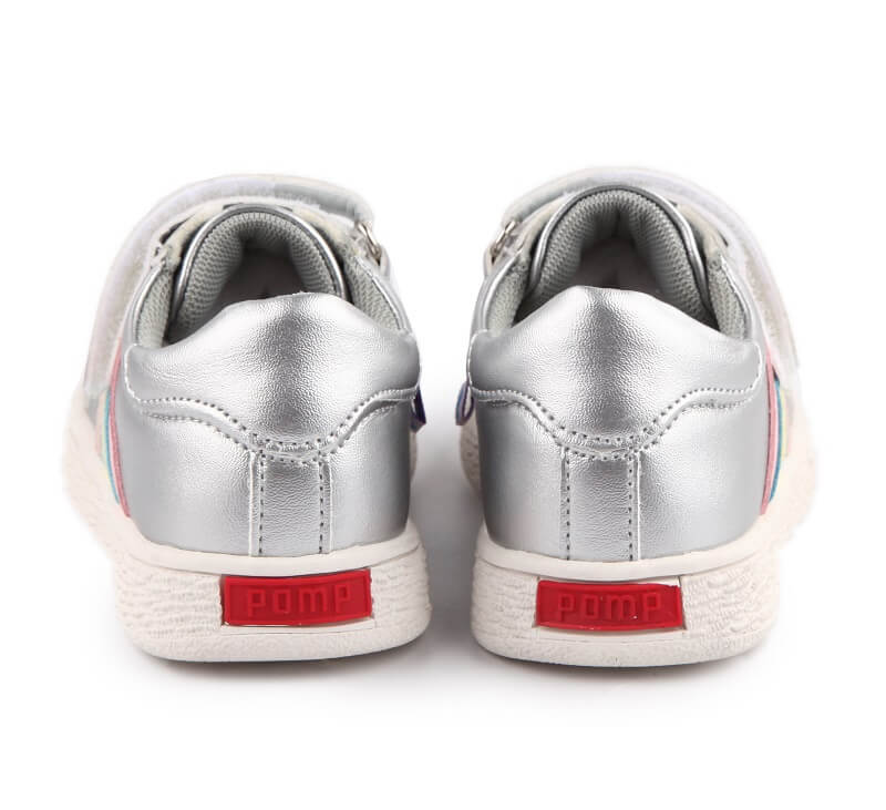 Sophie kids shoes silver girls sneakers back view