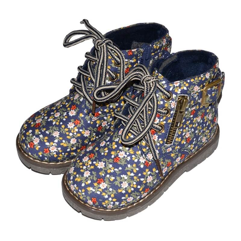 Lesley toddler boots navy with floral pattern
