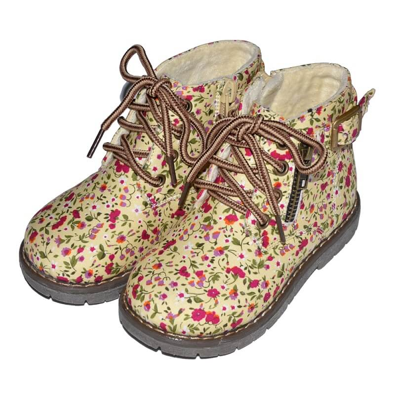 Lesley toddler boots beige with floral pattern