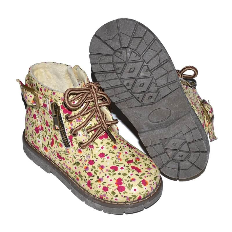 Lesley girl boots beige with floral pattern front and bottom view