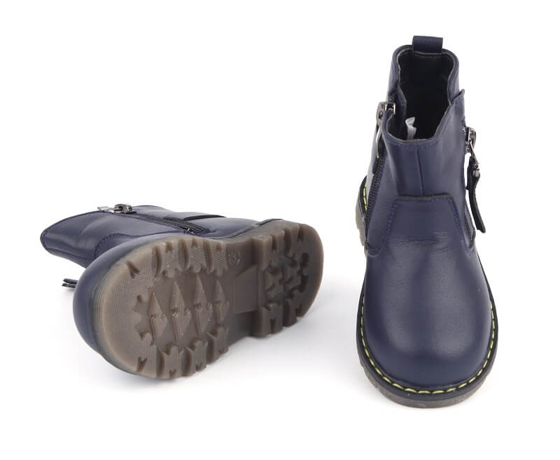 Leather girls boots Madison navy blue with flexible rubber sole