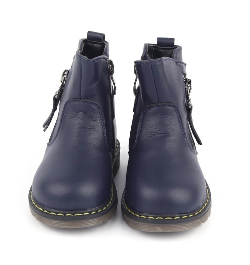 Madison toddler girl boots navy leather front view