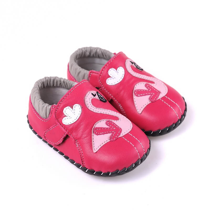 Leather baby girl sneaker first walker baby shoe hot pink with flamingo side view