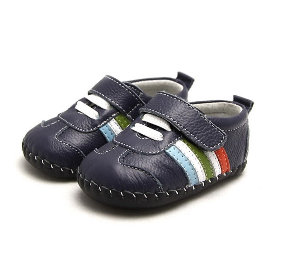Mario baby shoes navy baby sneakers with colourful racing stripes